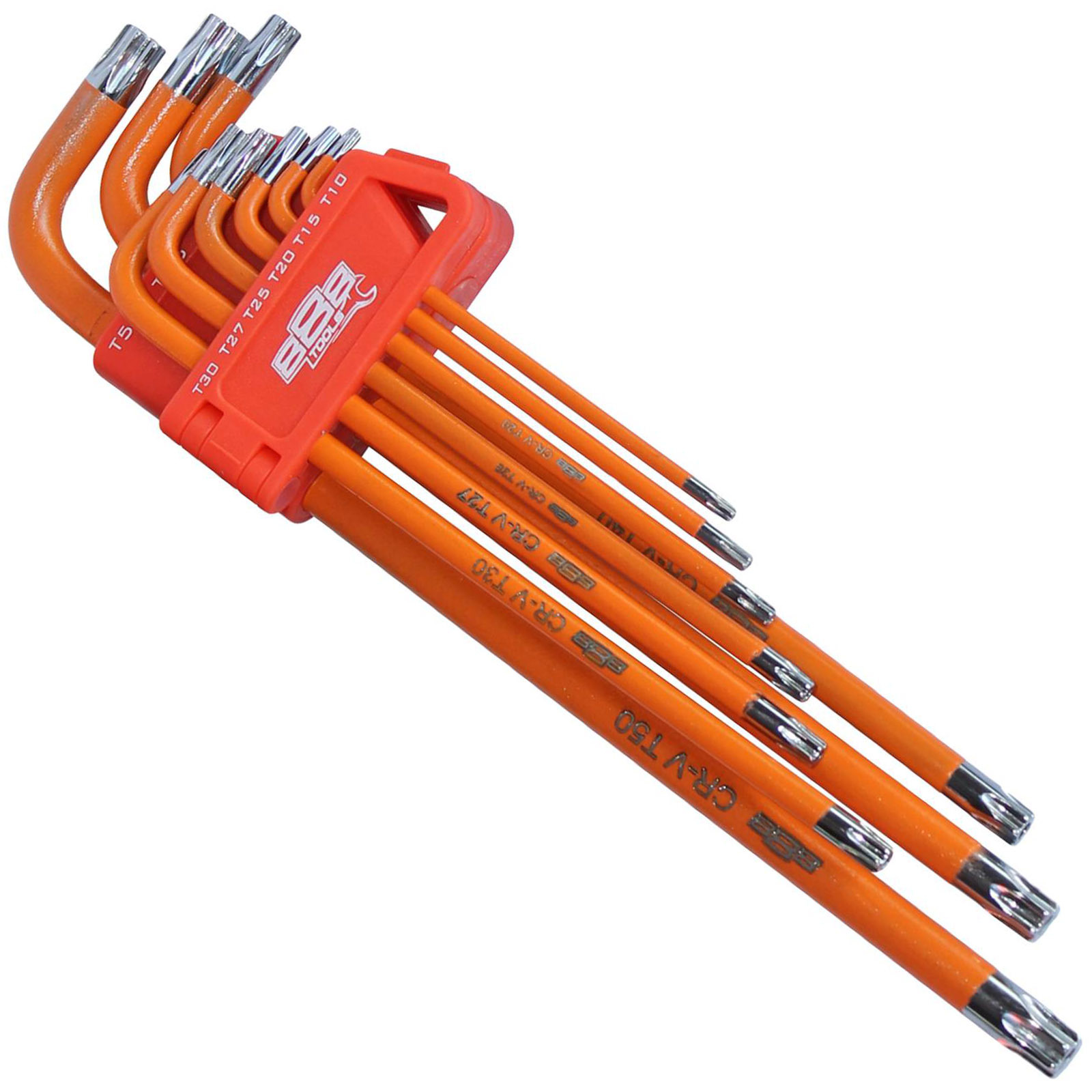 888 Tools 9pc Hex Key Set - Tamperproof Torx (Orange)