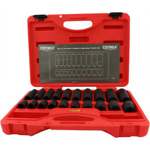 "KC Tools 20pc 1/2"" Dr Standard and Metric Deep Impact Socket Set"