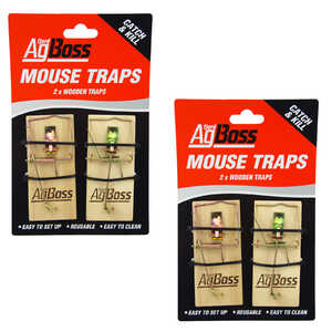 AgBoss 2 x 2-Pack Wooden Mouse Traps
