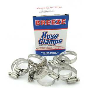 Breeze 10pc Power-Seal 21-44mm Hex Screw 300 Stainless Steel Hose Clamps