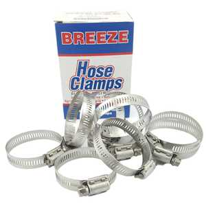 Breeze 10pc Power-Seal 33-57mm Hex Screw 300 Stainless Steel Hose Clamps