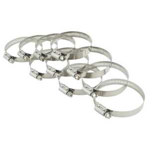 Breeze 10pc Power-Seal 52-76mm Hex Screw 300 Stainless Steel Hose Clamps