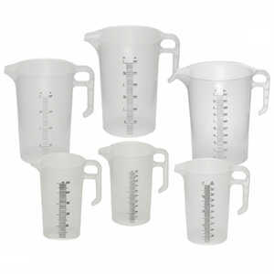 Pourmaxx Plastic Measuring Jugs 250ml 500ml 1L 2L 3L 5L