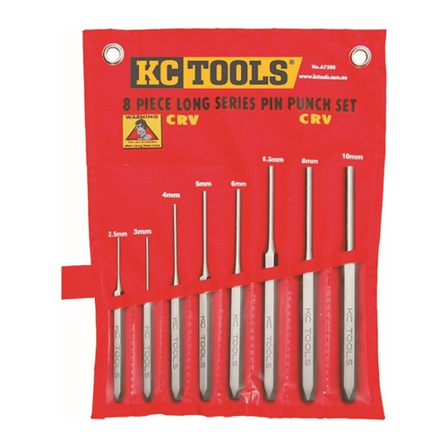 KC Tools 8pc Long Series Industrial Pin Punch Set