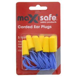 Maxisafe Corded Earplugs - Blister of 5 Pairs