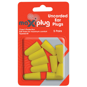 Maxisafe Uncorded Earplugs - Blister of 5 Pairs