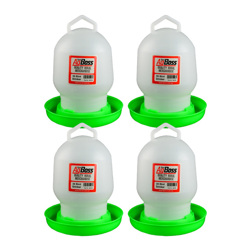 AgBoss 4 Pack of 3L Chicken Poultry Drinkers