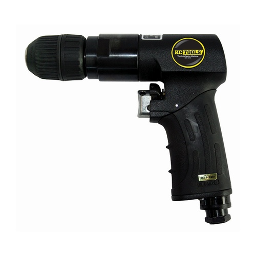 "KC Tools 3/8"" Reversible Air Drill with Keyless Chuck and Handle Exhaust"